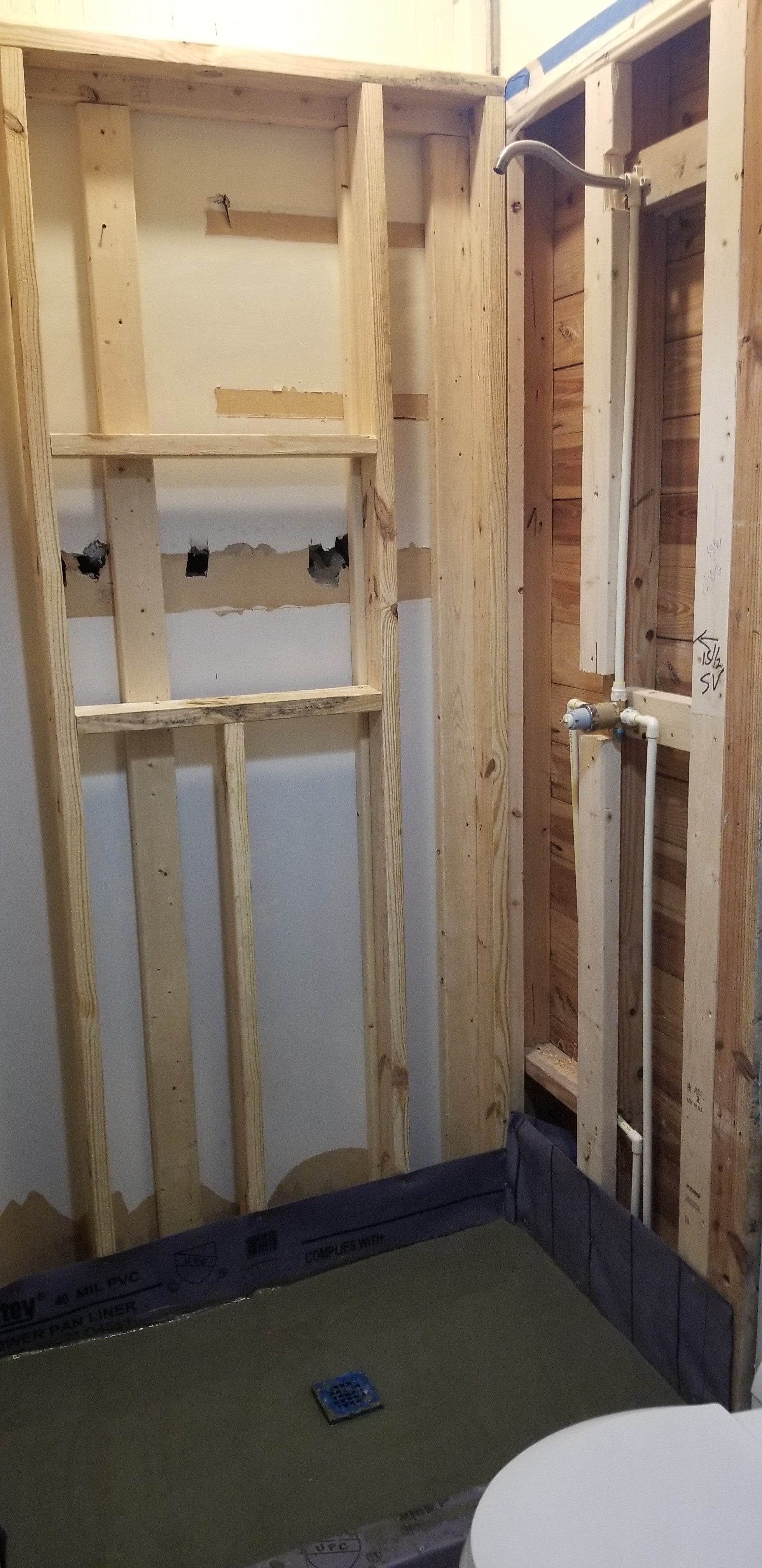 Shower Wall Framing and Shower Valve