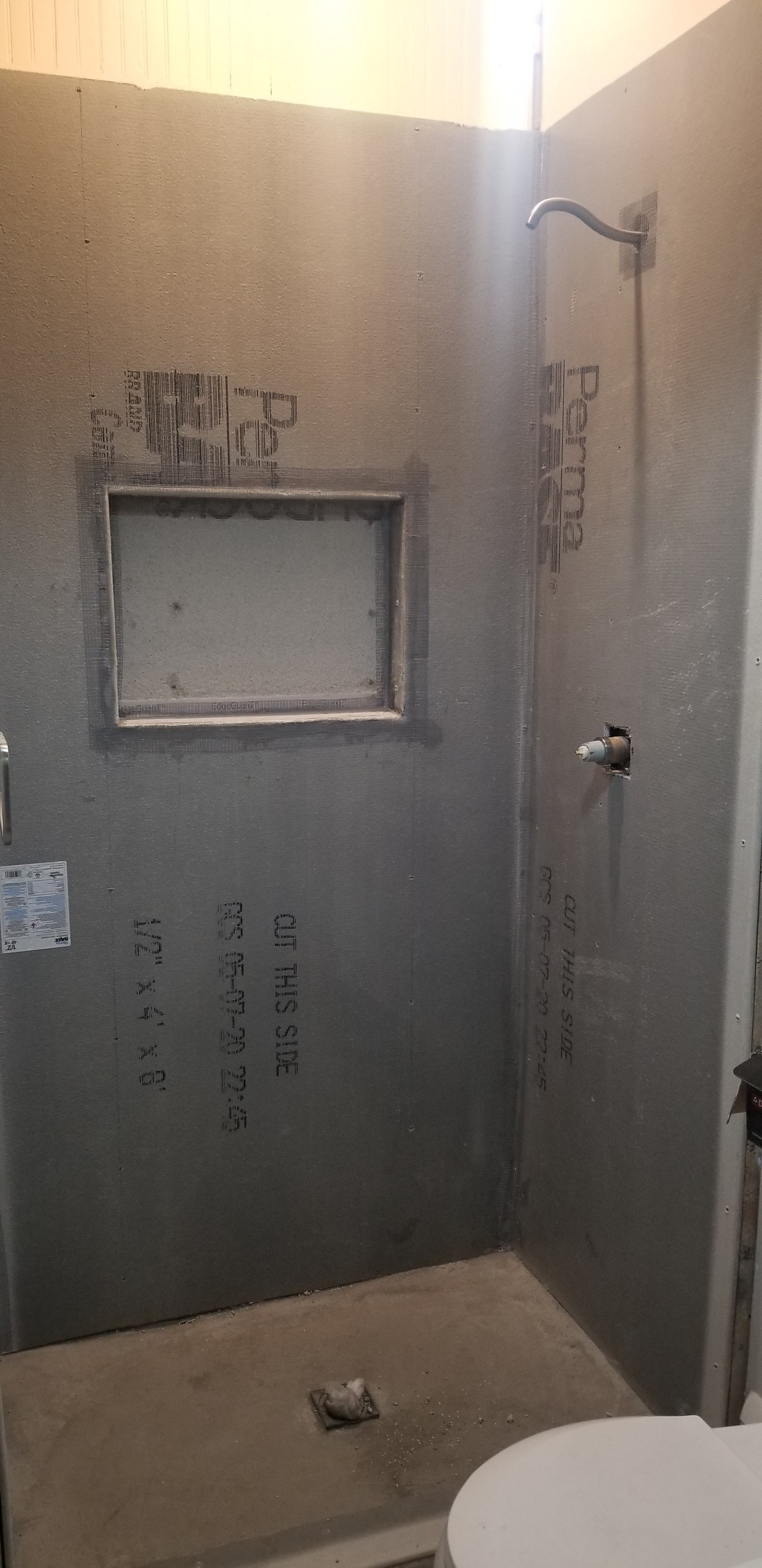 Cement board walls and mud bed
