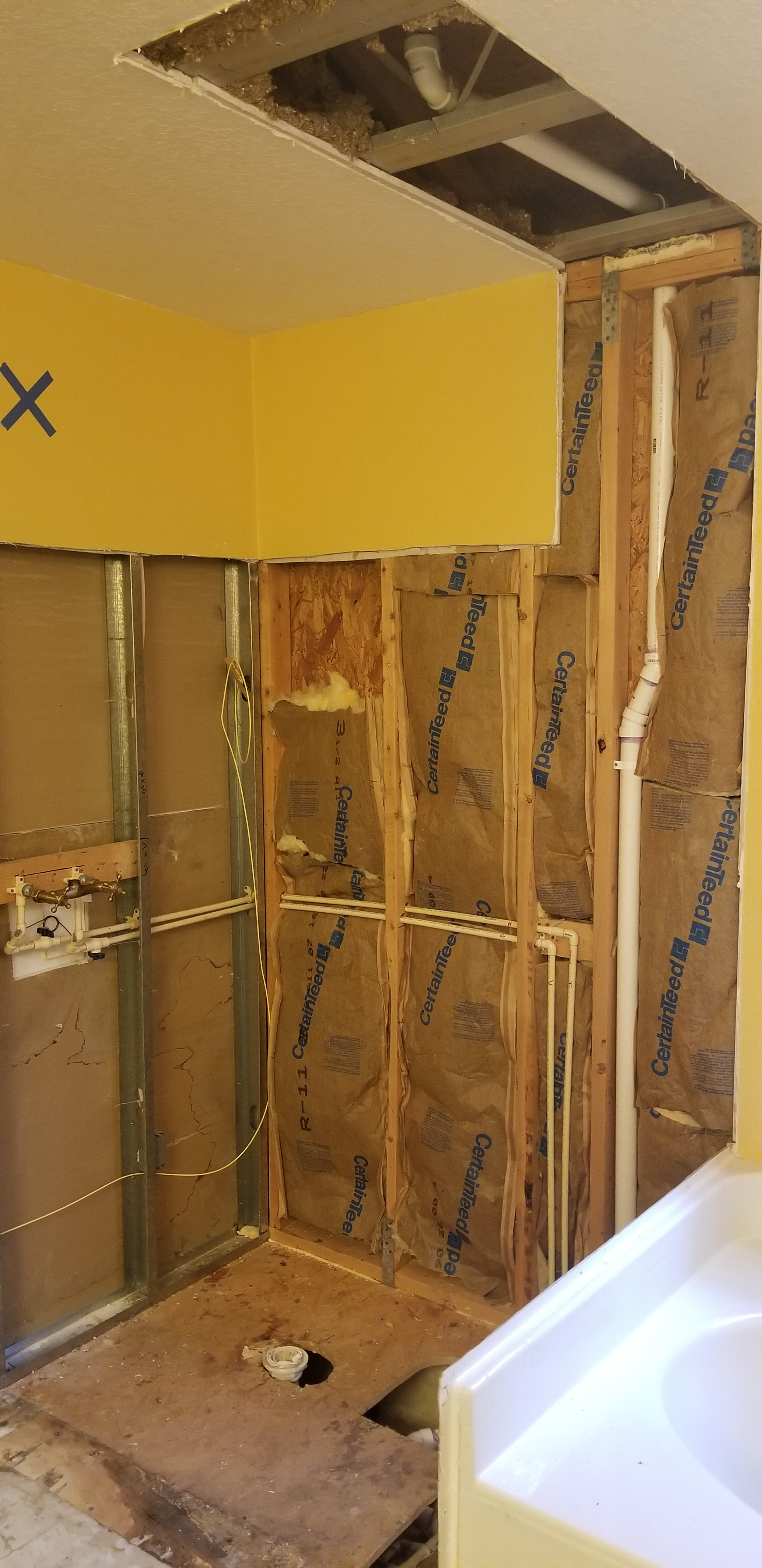New CPVC piping for shower